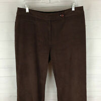 Dressbarn womens size 12 stretch solid brown flat front velvety straight pants