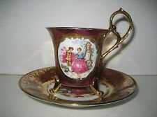 Vintage KPM Footed Cup & Saucer, Romantic Scene. Burgundy Background & Gold Trim