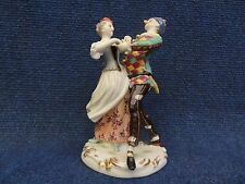 Porcelain Group Old Volkstedt Harlequin & Columbine Italian Comedy Commedia