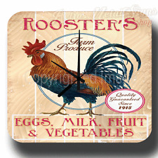 ROOSTER`S FARM PRODUCE VINTAGE RETRO TRAVEL AGENT METAL TIN SIGN WALL CLOCK