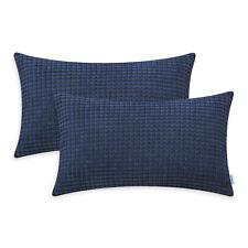 2Pcs Navy Blue Cushion Covers Bolster Pillows Case Soft Corduroy Striped 30x50cm