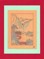 Dessin encre de chine & aquarelle Japon Hand made china ink signé Geneviève n10