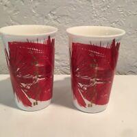 2014 Starbucks Coffee Mugs Red Gold Tall 16oz Christmas Abstract Art SET OF 2