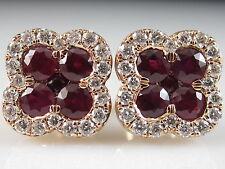 14K Rose Gold Ruby Diamond Earrings Genuine Fine Jewelry Friction Backs Posts