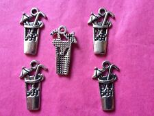 Tibetan Silver Cocktail Glass/Drinks Charms 5 per pack