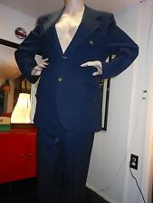 """VINTAGE Men's Suit NAVY BLUE WAFFLE POLY With ANCHOR BUTTONS 44"""" Chest  38""""Waist"""