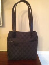 de715ae530f8 Gucci Vintage w/ Popular Top Handles Black Canvas Bag with Leather Trim  CLASSIC!