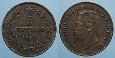 REGNO D'ITALIA VITT.EMANU.II 5 CENTESIMI 1861 MILANO qSPL 2