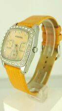 Fossil ES 1009 ladies watch diamond inserts orange leather ES-1009 analog 3 ATM