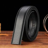 Luxury Men's Leather Automatic Ribbon Waist Strap Belt Without Buckle Black S7S3