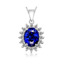 Noble Jewel Oval Blue Sapphire Cluster 925 Sterling Silver Pendant Necklace