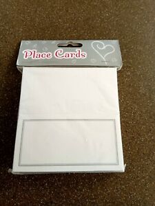 WEDDING PLACE CARDS X 50 WHITE SILVER BORDER