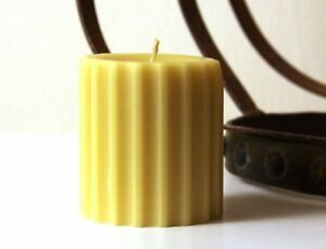 Handmade 100% Pure Beeswax Ribbed Pillar Round Candles 100% Cotton Wick US made