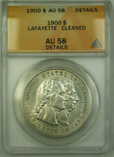 1900 Lafayette Commemorative Silver Dollar $1 Coin ANACS AU-58 Details RJS