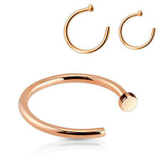 Pair of Rose Gold IP Over 316L Surgical Steel Nose Hoop Rings