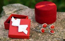 Set Gioielli Argento 925 con corallo, Anello con orecchini + ciondolo