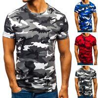 Beiläufig Herren Camouflage T-Shirt Outdoor Bluse Rundhals Tops Oberteil Kurzarm