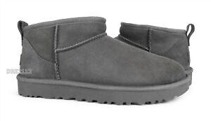 UGG Classic Ultra Mini Grey Fur Boots Womens Size 8 *NIB*