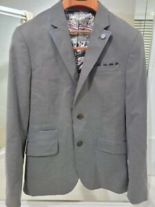 Authentic Ted Baker London Mens Jacket Blazer UK Size 2 Grey Pattern
