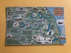 MAP OF THE NORFOLK BROADS POSTCARD
