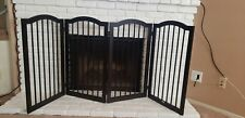 Unipaws Freestanding Pet Gate Wooden Dog Gate Arched Top, with 2Pcs Support Feet