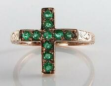 UNUSUAL CARVED 9CT ROSE GOLD COLUMBIAN EMERALD RELIGIOUS CROSS RING