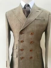 Brown khaki military 8 button double breasted linen summer suit