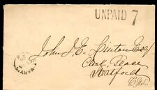 UNPAID 7 St. Mary's CW split ring to Stratford 1866  cover Canada