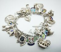 Heavy Vintage Sterling  Silver Charm Bracelet & 30 Good  Charms  56 grams.