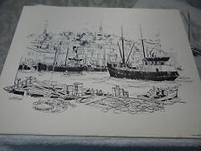 "Vintage! 12""x16"" Sketch of ""New Bedford Mass"" By Robert James Pailthorpe"