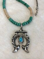 """#657 Navajo Sand Cast Sterling Silver Naja Pendant, 20"""" Turquoise Heishi, Signed"""