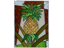 10x14 PINEAPPLE Fruit Tropical Stained Art Glass Suncatcher