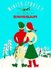 Winter Sports ? Swissair Switzerland Vintage Travel Advertisement Art Poster