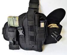 Tactical Drop Leg Thigh Gun Pistol Holster Glock Sig H&K S&W Ruger 1911 (Black)