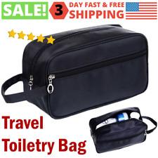 Black Toiletry Travel Soft Bag Dopp Kit Cosmetics Makeup Shaving Zip Organizer
