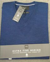 M&S V.NECK JUMPER IN EXTRA FINE MERINO WOOL THAT IS MACHINE WASHABLE- DENIM BLUE