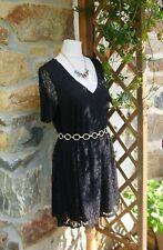 superbe tunique robe courte noire tout dentelle grande taille 46/48 tendance !