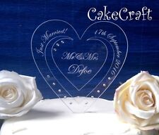 Engraved Acrylic Personalised Wedding/engagement cake topper/decoration crystals