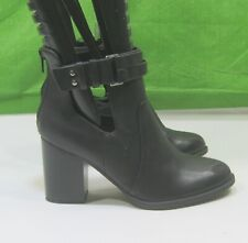 """new ladies Black 3.5"""" Block Heel  ankle strap  round toe Sexy Ankle Boots Size 6"""