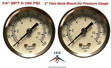 "2 Air Compressor Pressure/Hydraulic Gauge 2"" Face Back Mnt 1/4"" NPT 0-160 PSI"