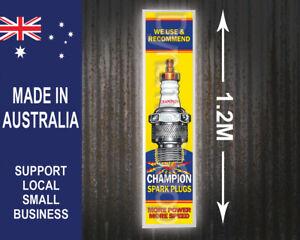 Large Illuminated Champion Spark Plugs Workshop Sign, man cave, garage, shed