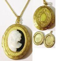 pendentif porte photo bijou vintage camée buste femme relief couleur or * 4887