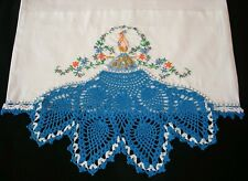 Hand Embroidered Crochet PillowCases Blue Peacock Cotton Sateen  Standard New