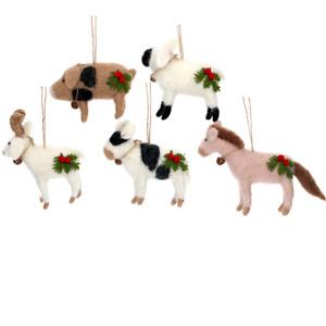 Gisela Graham: Beautiful Mixed Wool Animal Hanging Christmas Tree Decorations