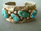 Old Pawn Native American Navajo Turquoise Nuggets Row Sterling Silver Bracelet