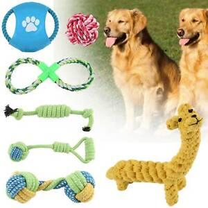 7PCS Dog Rope Toys Kit Tough Strong Chew Knot Ball Pet Puppy Cotton Toy Bulk