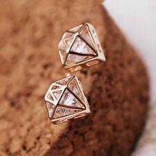 Diamond Shape Ear Stud Earrings Jewelry 1 Pair Alloy Fashion Women Rhinestone