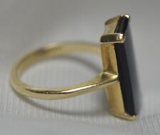 14k Solid Yellow Gold Ring, 7 Carat Emerald Cut Natural Onyx, Baden & Foss, s6.5