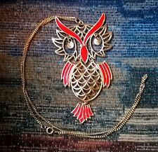RED AND GOLD TONED OWL PENDANT NECKLACE