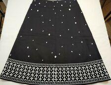 "Willi Smith Black Skirt Woman's Size 6 A-Line Linen Blend Lined Skirt 29"" Long"